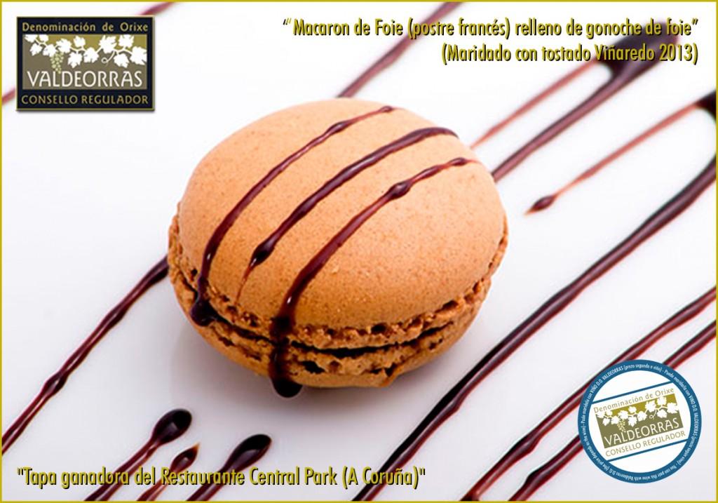 Macaron (postre francés) relleno de gonoche de foie