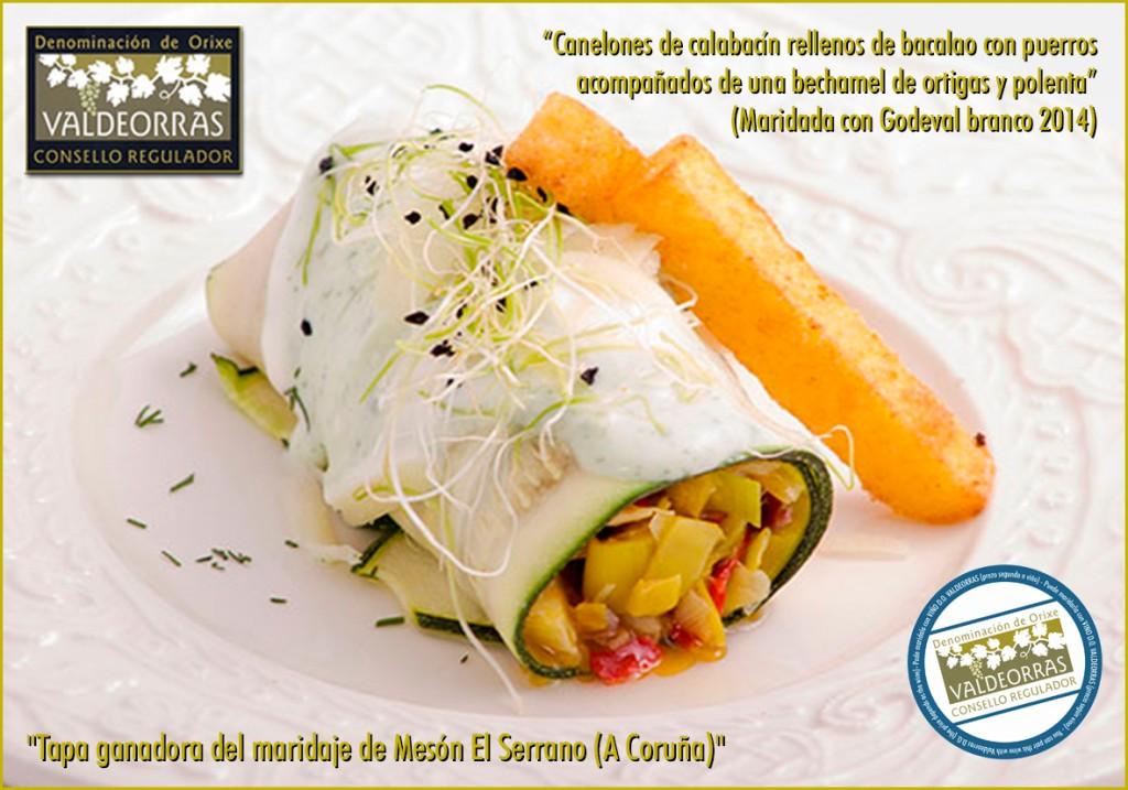 Canelones de calabacín rellenos de bacalao con puerros acompañados de una bechamel de ortigas y polenta